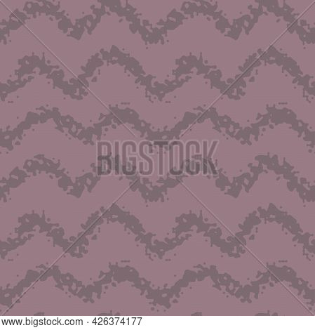 Dusty Rose Taup Color Chevron Zigzag Stripes Hand Drawn Seamless Pattern. Vector Illustration For Ba