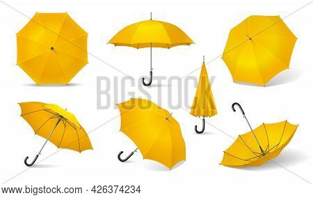 Yellow Isolated And Realistic Umbrella Icon Set Seven Different Locations Of The Yellow Umbrella Vec