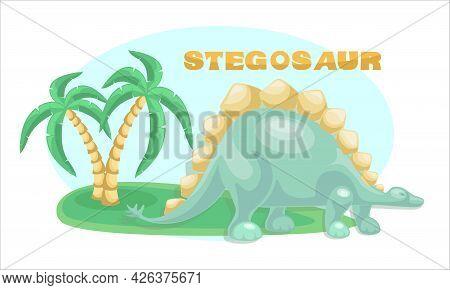 Dino. Stegosaurus Landscape Background, Coconut Tree. Cute Dinosaur Vector Drawing For Print, Poster