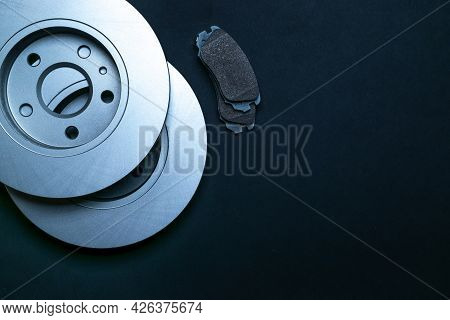 Car Engine Parts. Auto Motor Mechanic Spare Or Automotive Piece On Black Background. New Metal Car P