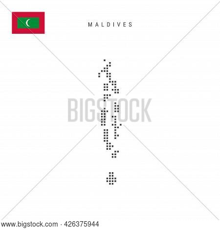 Square Dots Pattern Map Of Maldives. Maldivian Dotted Pixel Map With National Flag Isolated On White