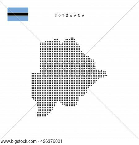 Square Dots Pattern Map Of Botswana. Botswana Dotted Pixel Map With National Flag Isolated On White