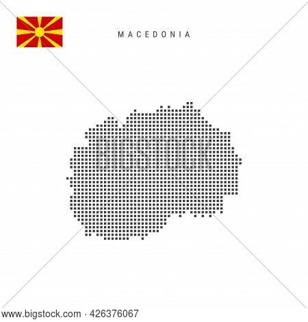 Square Dots Pattern Map Of Macedonia. Macedonian Dotted Pixel Map With National Flag Isolated On Whi