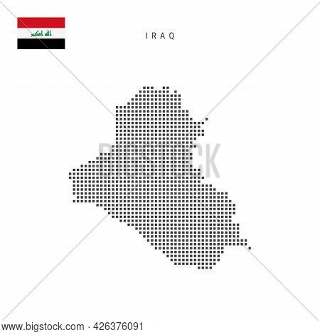 Square Dots Pattern Map Of Iraq. Iraqi Dotted Pixel Map With National Flag Isolated On White Backgro