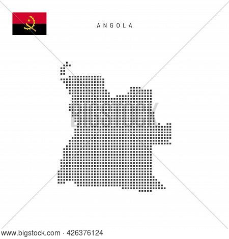 Square Dots Pattern Map Of Angola. Angolan Dotted Pixel Map With National Flag Isolated On White Bac