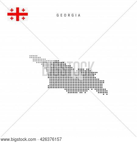 Square Dots Pattern Map Of Georgia. Georgian Dotted Pixel Map With National Flag Isolated On White B