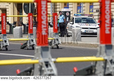 Bucharest, Romania - June 08, 2021: Pitagone F11 Anti-terror Mobile Vehicle Barrier On Calea Victori