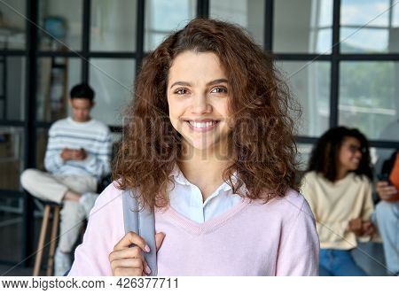 Headshot Portrait Of Young Happy Smiling Latin Hispanic High School Student Girl Holding Backpack St