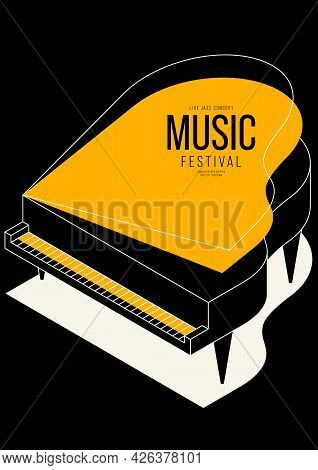 Music Poster Design Template Background Decorative With Isometric Piano Outline. Design Element Temp