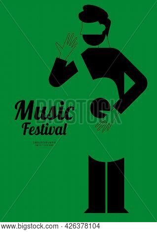 Music Festival Poster Design Template Background With Acoustic Guitar. Design Element Template For B