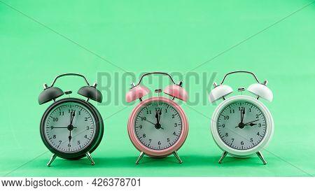 Beautiful Three Alarm Clock On Green Screen Background Alarm Clock Face In Daytime Minimal Alarm Clo