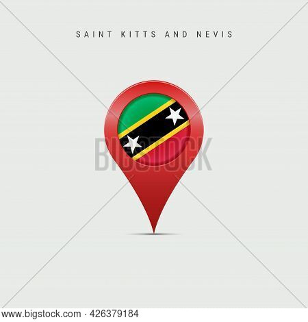 Teardrop Map Marker With Flag Of Saint Kitts And Nevis. Saint Christopher And Nevis Flag Inserted In