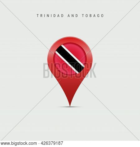 Teardrop Map Marker With Flag Of Trinidad And Tobago. Republic Of Trinidad And Tobago Flag Inserted