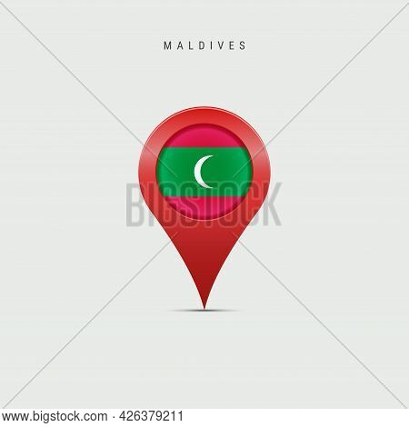 Teardrop Map Marker With Flag Of Maldives. Maldivian Flag Inserted In The Location Map Pin. Vector I