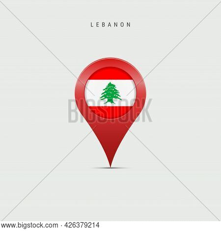 Teardrop Map Marker With Flag Of Lebanon. Lebanese Flag Inserted In The Location Map Pin. Vector Ill