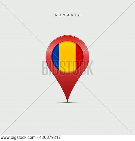Teardrop Map Marker With Flag Of Romania. Romanian Flag Inserted In The Location Map Pin. Vector Ill