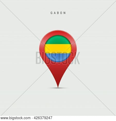 Teardrop Map Marker With Flag Of Gabon. Gabonese Flag Inserted In The Location Map Pin. Vector Illus