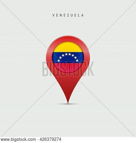 Teardrop Map Marker With Flag Of Venezuela. Venezuelan Flag Inserted In The Location Map Pin. Vector