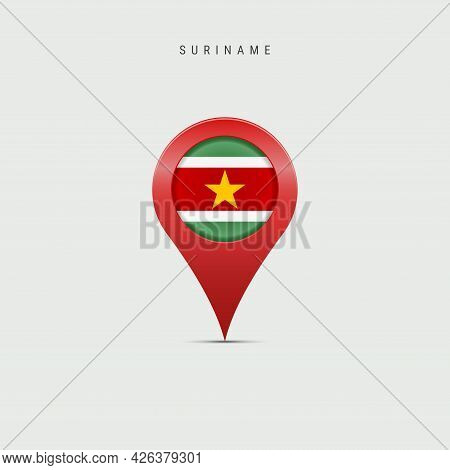 Teardrop Map Marker With Flag Of Suriname. Surinamese Flag Inserted In The Location Map Pin. Vector