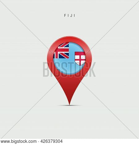 Teardrop Map Marker With Flag Of Fiji. Fijian Flag Inserted In The Location Map Pin. Vector Illustra