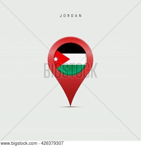 Teardrop Map Marker With Flag Of Jordan. Hashemite Kingdom Of Jordan Flag Inserted In The Location M