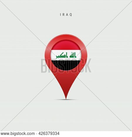 Teardrop Map Marker With Flag Of Iraq. Iraqi Flag Inserted In The Location Map Pin. Vector Illustrat