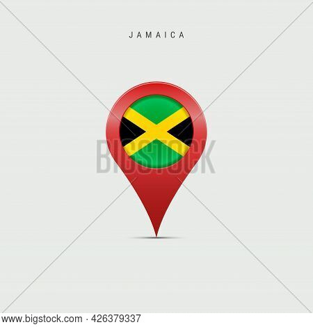 Teardrop Map Marker With Flag Of Jamaica. Jamaican Flag Inserted In The Location Map Pin. Vector Ill