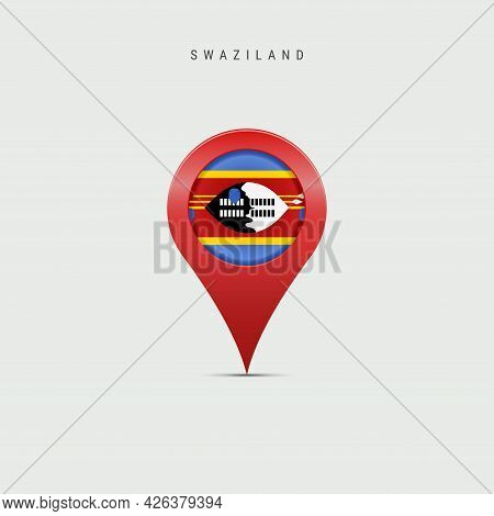 Teardrop Map Marker With Flag Of Swaziland. Eswatini Flag Inserted In The Location Map Pin. Vector I