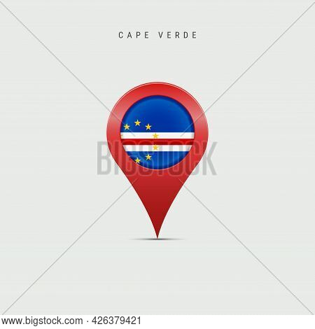 Teardrop Map Marker With Flag Of Cape Verde. Cabo Verde Flag Inserted In The Location Map Pin. Vecto