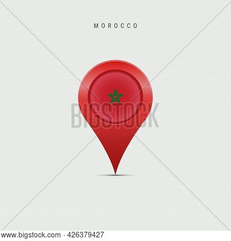 Teardrop Map Marker With Flag Of Morocco. Moroccan Flag Inserted In The Location Map Pin. Vector Ill