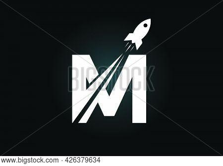 Initial M Monogram Letter Alphabet With A Rocket Logo Design. Rocket Icon. Font Emblem. Modern Vecto