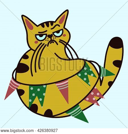 Cute Cartoon Cat Vector Icon. Isolated Illustration On A White Background. A Grumpy Ginger Kitten Li