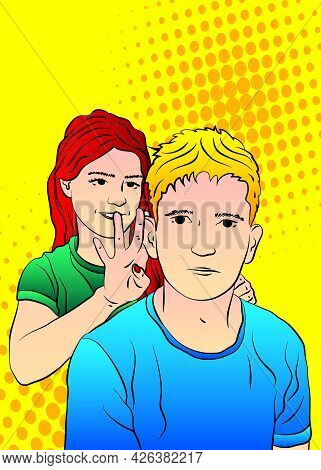 Woman Pulling On Her Boyfriend's Ears. Fun Or Punishment Concept. Caucasian Funny Man With Face Expr