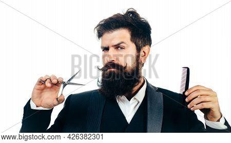 Retro Bearded Man, Portrait Of Man With Long Beard And Moustache. Barber Scissors For Barber Shop. V