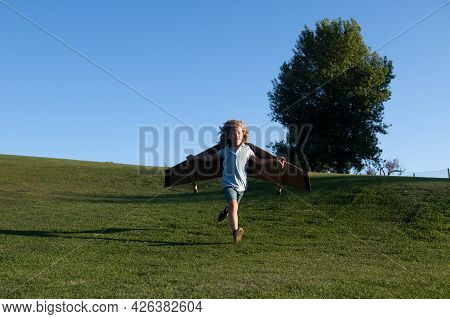 Child Running On Grass In Park. Child Flying In Plane Made Craft Of Cardboard Wings. Dream, Imaginat