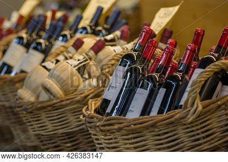 Florence, Italy - September 19, 2017: Bottles Of Tuscan Wine On The Counter Of The Store