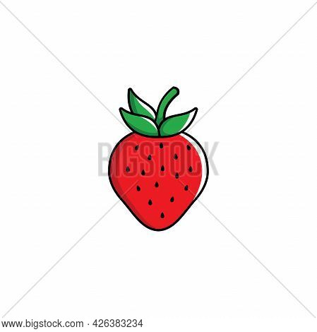 Simple Flat Strawberry Illustration Design, Fresh Strawberry Icon With Outlined Style Template Vecto