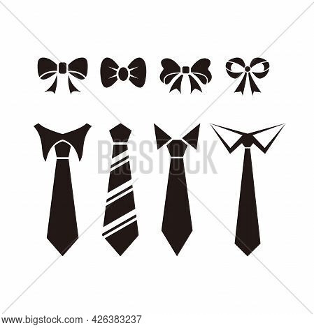 Set Of Simple Assorted Tie Shape Design, Collection Of Flat Tie Silhouette Icon Template Vector