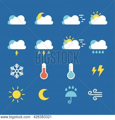 Set Of Simple Flat Weather Icon Ilustration Design, Weather Forecasting Icon Template Vector
