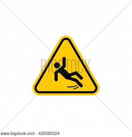 Simple Wet Floor Sign Illustration With Yellow Triangle Shape Design, Wet Floor Symbol Template Vect