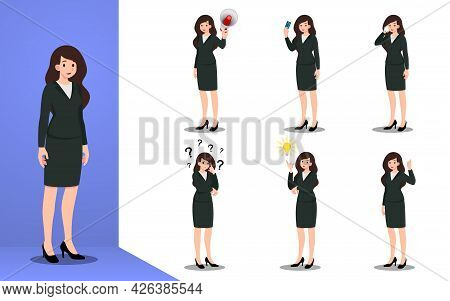Flat Design Concept Of Business Woman With Different Poses, Working And Presenting Process Gestures,