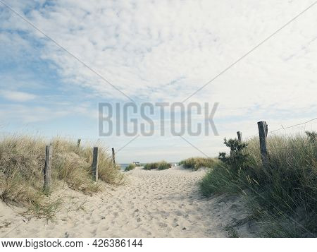 Beautiful Pathway To The Beach On A Sunny Summer Day, Baltic Sea, Germany, Heiligenhafen