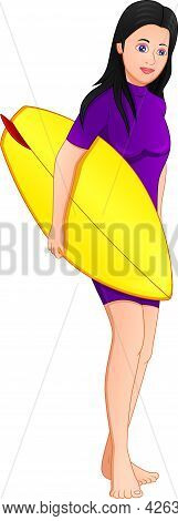 Surfer Girl Carrying A Surfboard On White Background