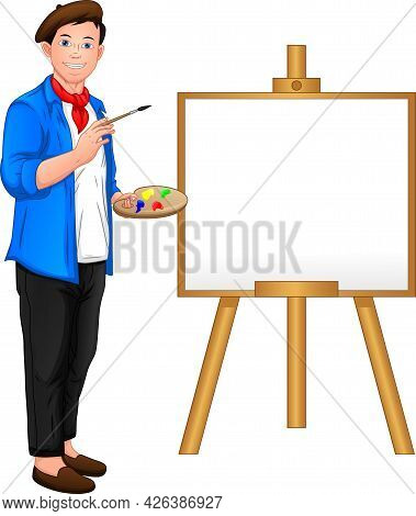 Painter Boy Posing In Front Of The Canvas