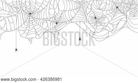 Halloween Cobweb Background. Spooky Halloween Torn Hanging Spider Web With Black Spiders Vector Back