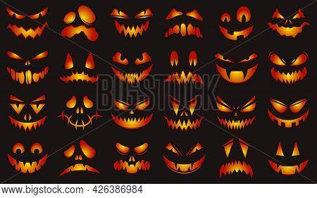Spooky Halloween Faces. Happy Halloween Glowing Pumpkins Scary Faces Isolated Vector Illustration Se