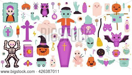 Spooky Halloween Symbols. Happy Halloween Ghost, Pumpkin, Potion And Candies For Halloween Party Iso
