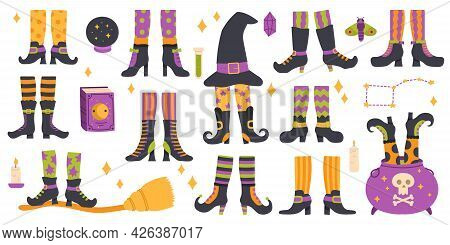 Halloween Witch Legs. Funny Witch Legs In Striped Socks And Boots, Witchcraft Cauldron And Hat Vecto