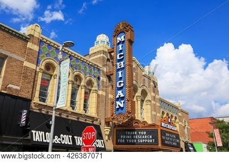Ann Arbor, MI -August 9, 2020: Historic Michigan Theater sign, built in 1927, Designed by Detroit-based architect Maurice Finkel.