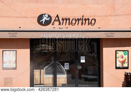 Bordeaux , Aquitaine France  - 07 04 2021 : Amorino Logo Brand And Text Sign Of Italian Cafe Of Gela